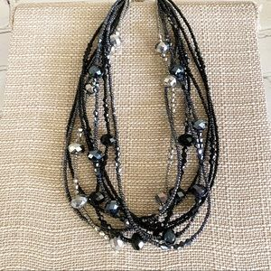 Black & Silver Layered Bead Necklace